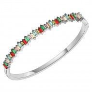 Rhodium Plated With Multi Color 4mm Cubic Zirconia Hinged Bangle Bracelet Single Row Prong 7""