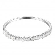 Rhodium Plated Cubic Zirconia Hinged 4mm Single Row Bangle 7""