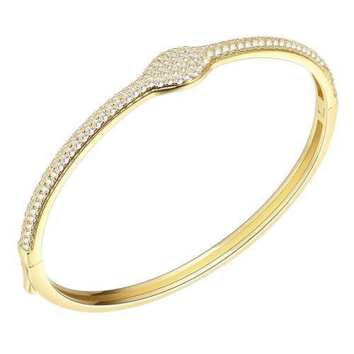 """Gold Plated Hinged Bangle Bracelet AAA Cubic Zirconia 7"""" for Women"""