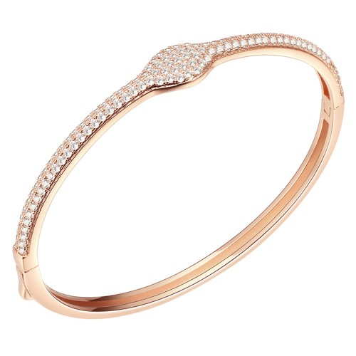 """Rose Gold Plated Hinged Bangle Bracelet AAA Cubic Zirconia 7"""" for Women"""