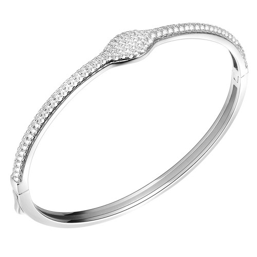 "Rhodium Plated Cubic Zirconia Hinged Bangle Bracelet AAA Cubic Zirconia 7"" for Women"