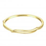 "Gold Plated Hinged Bangle Bracelet AAA Cubic Zirconia 7"" for Women"