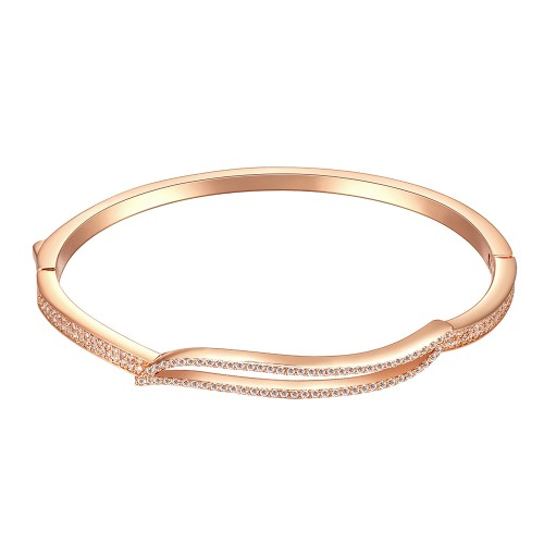 "Rose Gold Plated Hinged Bangle Bracelet AAA Cubic Zirconia 7"" for Women"