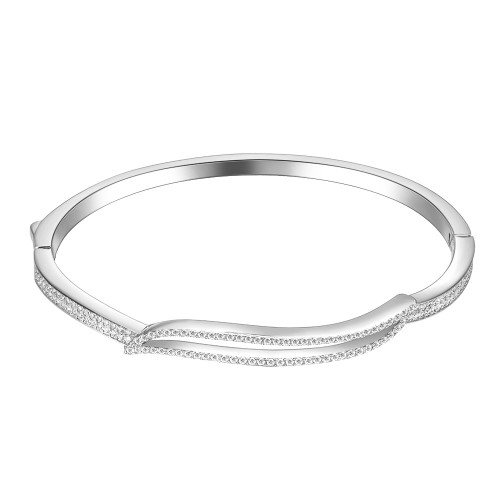 """Rhodium Plated Hinged Bangle Bracelet AAA Cubic Zirconia 7"""" for Women"""