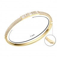 Gold Plated Cubic Zirconia Pull Cord Open Bangle 7""