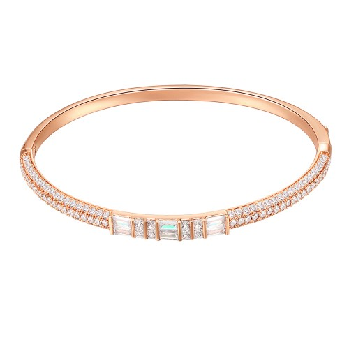 Rose Gold Plated Cubic Zirconia Pull Cord Open Bangle 7""