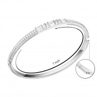 Rhodium Plated Cubic Zirconia Pull Cord Open Bangle 7""