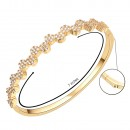 Gold Plated Round CZ Cubic Zirconia Flower Bangle for Women and Girls