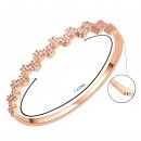 Rose Gold Tone Round CZ Cubic Zirconia Flower Bangle for Women and Girls