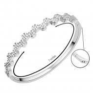 Rhodium Plated Round CZ Cubic Zirconia Flower Bangle for Women and Girls