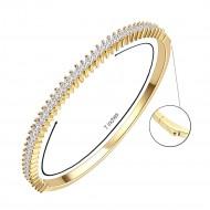 Gold Plated Marquise Shape CZ Cubic Zirconia Hinged Bangle for Women and Girls