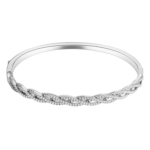 Rhodium Plated with Infinity Style CZ Cubic Zirconia Stone Bangle for Women and Girls