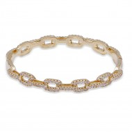 Gold Plated With CZ Cubic Zirconia Pave Link Hinged Bangle
