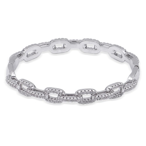 Rhodium Plated With CZ Cubic Zirconia Pave Link Hinged Bangle