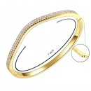 Gold Plated Paved with Hinged Bangle Bracelet Paved with Two Rows of Cubic Zirconia 7 Inches for Women
