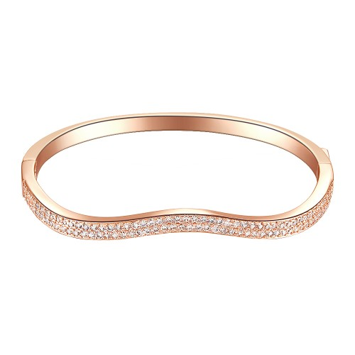 Rose Gold Plated Paved with Hinged Bangle Bracelet Paved with Two Rows of Cubic Zirconia 7 Inches for Women