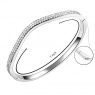 Rhodium Plated Paved with Hinged Bangle Bracelet Paved with Two Rows of Cubic Zirconia 7 Inches for Women
