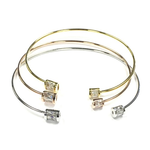 3-Tone Plated with Cubic Zirconia Cuff Bracelets