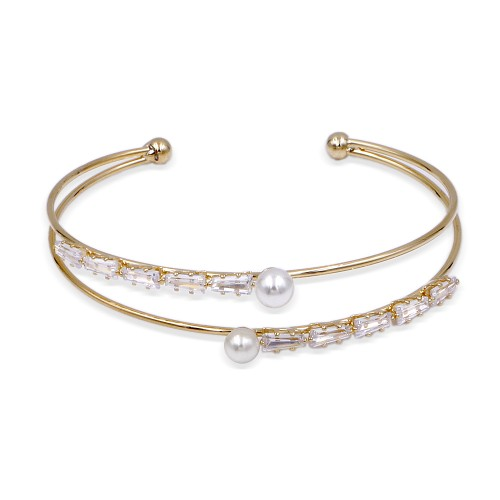 Gold Plated with Cubic Zirconia & Pearl Bangle Cuff Bracelets