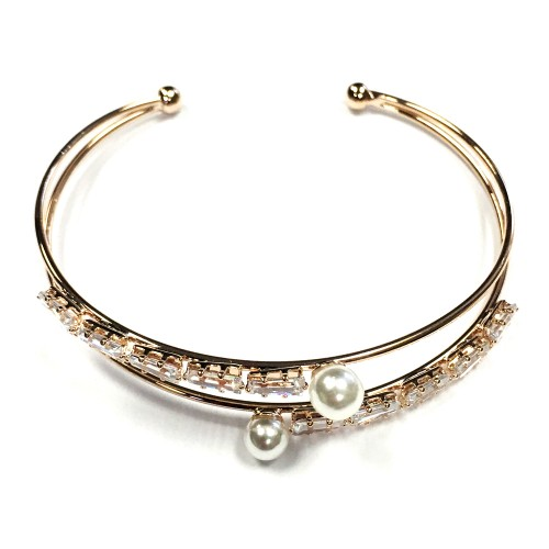 Rose Gold Plated with Cubic Zirconia & Pearl Bangle Cuff Bracelets