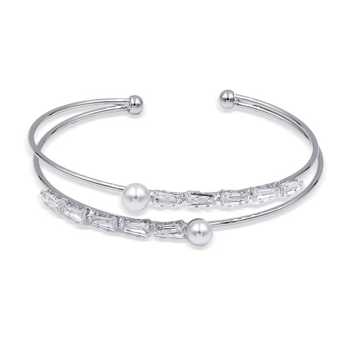 Rhodium Plated with Cubic Zirconia & Pearl Bangle Cuff Bracelets