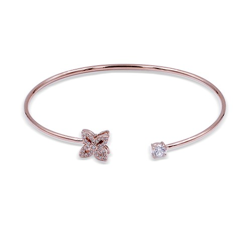 Rose Gold Plated with Cubic Zirconia Cuff Bracelets