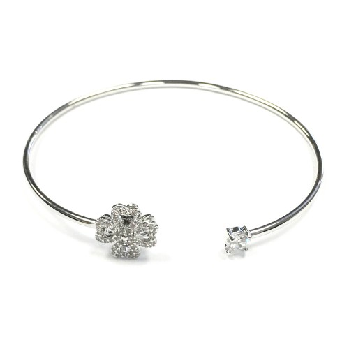 Rhodium Plated with Cubic Zirconia Cuff Bracelets