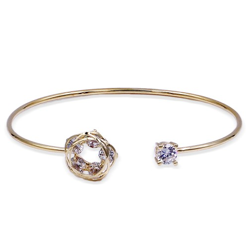 Gold Plated with Cubic Zirconia Cuff Bracelets