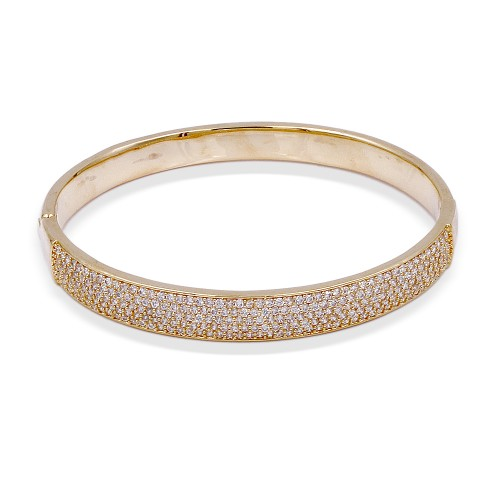 Gold Plated With Clear CZ  Wide Bangle Bracelets