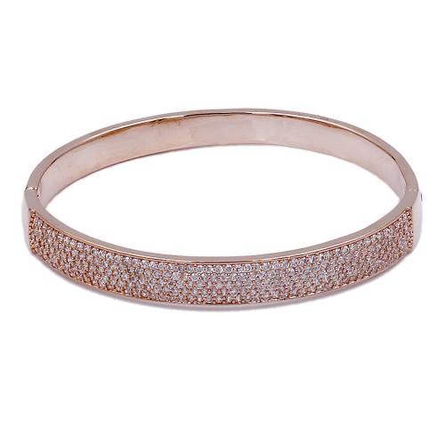 Rose Gold Plated With Clear CZ Wide Bangle Bracelets