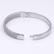 Rhodium Plated With Clear CZ Cubic Zirconia Wide Bangle Bracelets