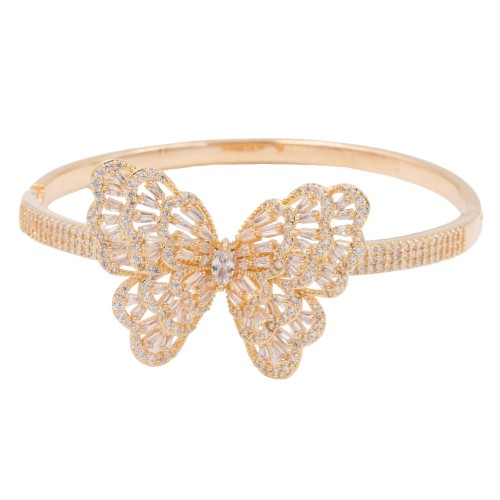Gold Plated with Cubic Zirconia Butterfy Bangle Bracelets
