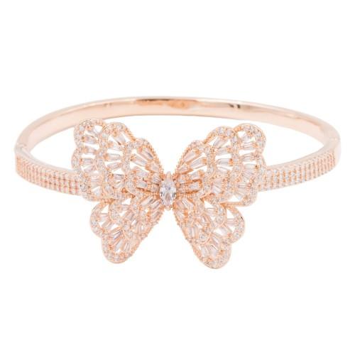 Rose Gold Plated Cubic Zirconia Butterfy Bangle Bracelets