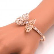 Rose Gold Plated Cubic Zirconia Butterfy Bangle Bracelets