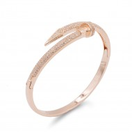 Rose Gold Plated With Clear CZ Nail Bangle Bracelets