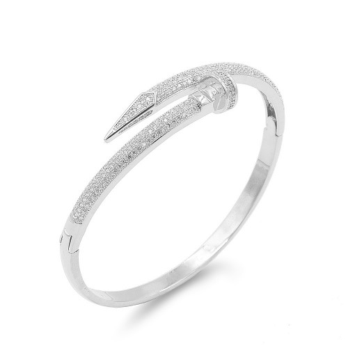Rhodium Plated With Clear CZ Nail Bangle Bracelets