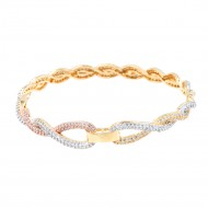 Three Tone Plated With Fine CZ Cubic Zirconia Bangle Bracelets