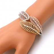 Three Tone Plated With Fine CZ Cubic Zirconia Leaf Cuff Bracelets