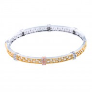 Tri-Tone Plated With CZ Cubic Zirconia Bangle Bracelets