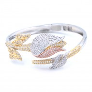 Three Tone Plated With Fine CZ Cubic Zirconia Tulip Cuff Bracelets