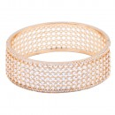 Rose Gold Plated With CZ Cubic Zirconia Wide Bangle
