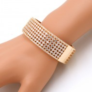Gold Plated With CZ Cubic Zirconia Wide Banlge