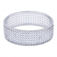 Rhodium Plated With CZ Cubic Zirconia Wide Banlge