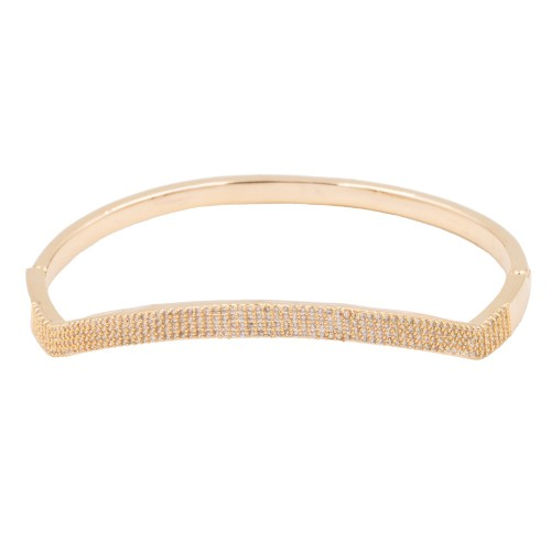 Gold Plated With Clear CZ Cubic Zirconia Wave Bangle Bracelets