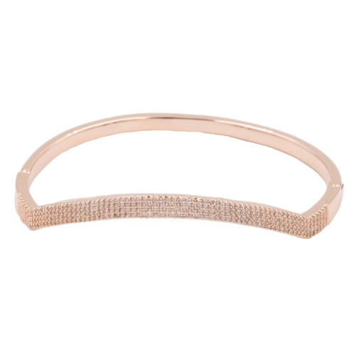 Rose Gold Plated With Clear CZ Cubic Zirconia Wave Bangle Bracelets