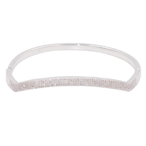 Rhodium Plated With Clear CZ Cubic Zirconia Wave Bangle Bracelets