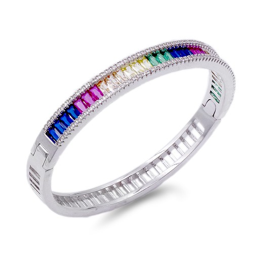 Rhodium Plated With Multi Color CZ Bangle