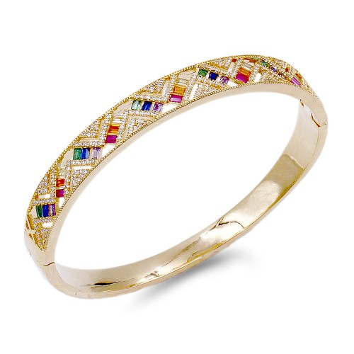 Gold Plated With Multi Color CZ Hinged Bangles