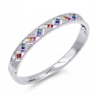 Rhodium Plated Plated With Multi Color CZ Hinged Bangles