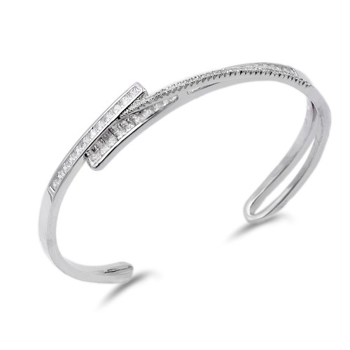 Rhoidum Plated With CZ Cuff Bangle